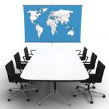 3d office with world map on a stand Stock Photography