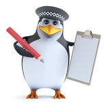 3d Officer penguin with clipboard Royalty Free Stock Photography