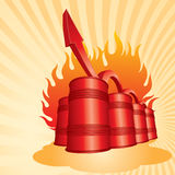 3D Oil barrels with increasing arrow Royalty Free Stock Image