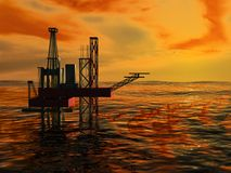 3d Oil Rig Silhouette, Ocean and Sunset. Orange Sky Stock Photo