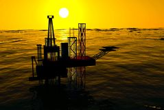 3d Oil Rig Silhouette, Ocean and Sunset Royalty Free Stock Photos