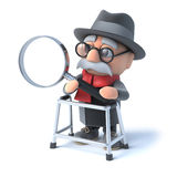 3d Old man looks through magnifying glass Stock Photography
