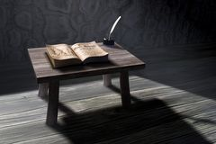 3d old study scene. 3D rendered old study scene Stock Illustration