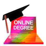 3d online graduation icon Royalty Free Stock Photos
