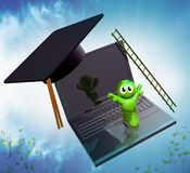 3d online graduation icon Royalty Free Stock Photography