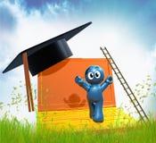 3d online graduation icon. Illustration Stock Photos