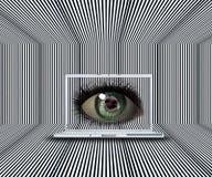 3D oog bij laptop het scherm Stock Foto
