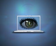 3D oog bij laptop het scherm Stock Foto's