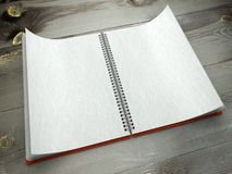 3d open blank notebook on desk paper texture Royalty Free Stock Photography