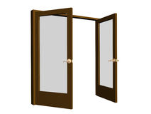 3D open brown doors with transparent glasses Royalty Free Stock Photo