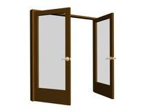 3D open bruine deuren met transparante glazen Royalty-vrije Stock Foto