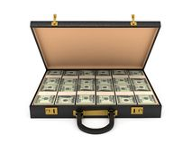 3d open case with money Stock Photo