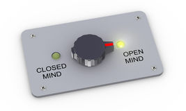 3d open and closed mind switch. 3d illustration of knob switch with open mind and close mind and toggle to open mind setting Stock Photo
