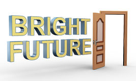 3d open door and bright future Stock Photo