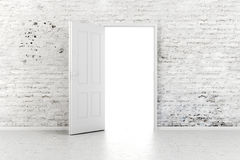 3d open door in a vintage brick wall. 3d open door in a white vintage brick wall Stock Image
