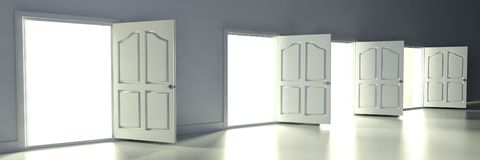 3d open doors in empty room Stock Images