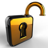 3d open lock. Isolated 3d model on white background Royalty Free Stock Photo