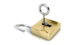 3d open padlocks with key Royalty Free Stock Images