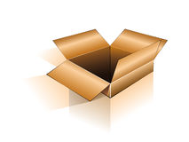 3D Open Shipping Box. Three Dimensional Open Box with shadow and reflection Stock Photography