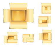 3D Open Shipping Box Set. Set of Three Dimensional Open Box with shadow and reflection Stock Photos
