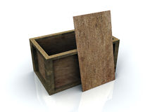 3D Open Wooden Box Royalty Free Stock Photography