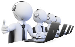 3D Operators working in a call center Royalty Free Stock Images