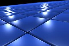 3D oppervlakte die door blauwe vierkanten wordt gevormd Stock Foto's