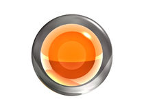 3d orange button. Transparent glass and metal Royalty Free Stock Photography