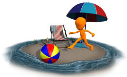 3d orange character on the beach ball Royalty Free Stock Photo