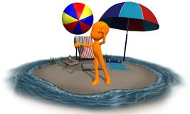 3d orange character on the beach ball 2 Royalty Free Stock Photography