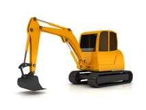 3d orange digger working on white background Stock Images