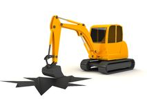 3d orange digger working on white background. Computer generated Stock Photos