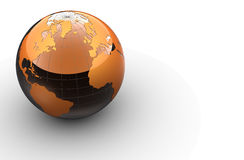 3d orange globe on white background Royalty Free Stock Photo