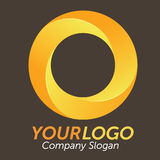 3D Orange Logo. Logo 3d circles, orange and yellow, vector illustration Stock Photo