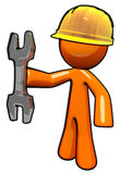 3d Orange Maintenance Man with Wrench and Hard Hat Royalty Free Stock Image