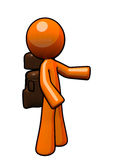 3d Orange Man Backpacker, Ready to Hike Royalty Free Stock Photo