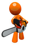 3d Orange Man with Chain Saw, Perspective View Stock Photography