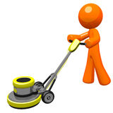 3d Orange man with floor scrubber.  Royalty Free Stock Photo