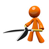 3d Orange Man Hedge Clippers Royalty Free Stock Image