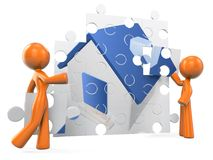 3d Orange Man Home Building Royalty Free Stock Photography