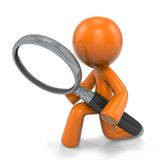 3d Orange Man Magnifying Glass Stock Image