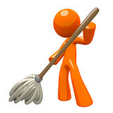 3d Orange Man Mopping Royalty Free Stock Image