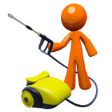 3d Orange Man Pressure Washer Stock Images