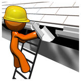 3d Orange Man Roof Worker Working on Gutters Royalty Free Stock Image