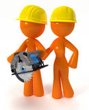 3d Orange Man and Woman with Circular Saw Stock Photos