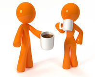 3d Orange Man and Woman Drinking Coffee. On their lunch break, or breakfast Stock Image