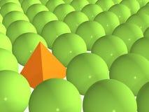 3d orange pyramid among green spheres. Orange pyramid among green spheres Stock Photos