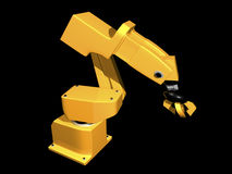 3D Orange robotic arm. On black background Royalty Free Stock Images