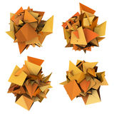 3d orange spiked shape on white Royalty Free Stock Images