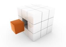 3d oranje bedrijfskubus Stock Foto's